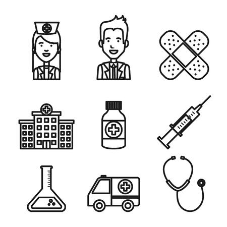 medische apparatuur personeel levert gezondheidszorg pictogrammen instellen vectorillustratie Stock Illustratie