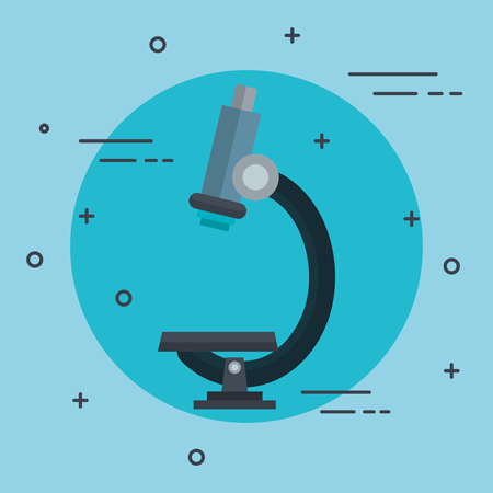virus bacteria: Microscope icon over blue background vector illustration