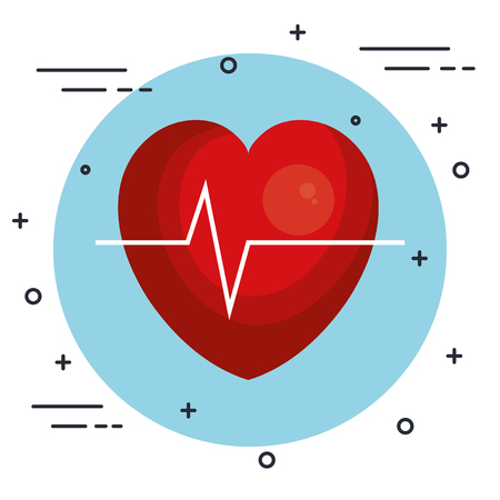 Heart and ecg icon over white background vector illustration