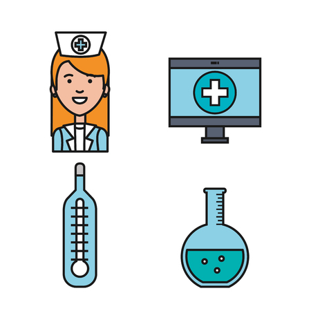 medical equipment supplies healthcare icons set vector illustration Stock fotó - 83853509