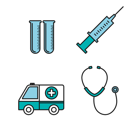 medical equipment supplies healthcare icons set vector illustration Stock fotó - 83853514
