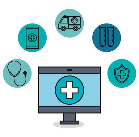 medical monitor application healthcare technology design vector illustration