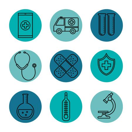 medical equipment supplies healthcare icons set vector illustration Stock fotó - 83853512