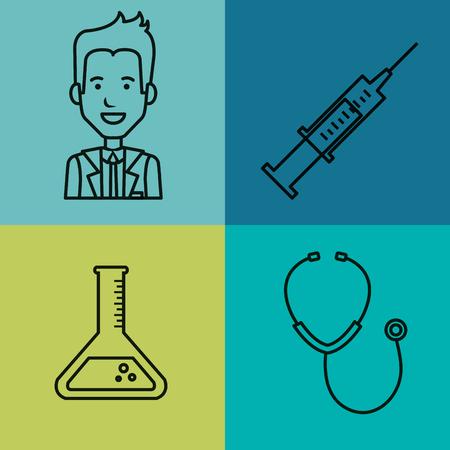 Medische apparatuur levert gezondheidszorg pictogrammen set vector illustratie Stockfoto - 83853515