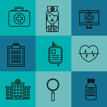 Medische apparatuur levert gezondheidszorg pictogrammen set vector illustratie Stockfoto - 83853516