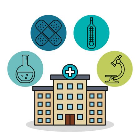 hospital building medical healthy design vector illustration Çizim