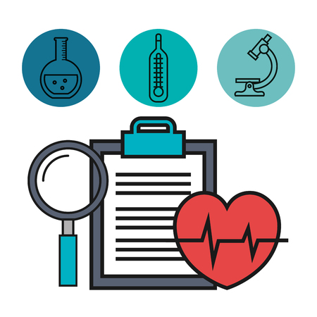 medical heartbeat clipboard and magnifier vector illustration