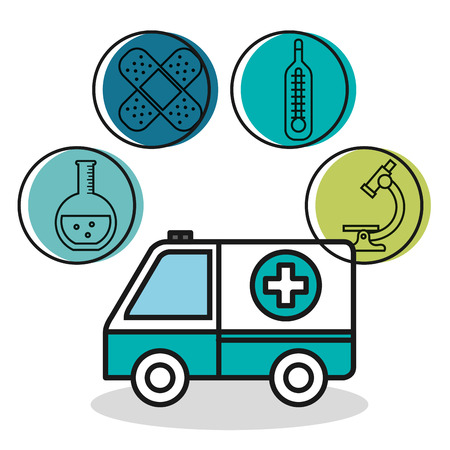 ambulance vehicle medical emergency design vector illustration Illusztráció
