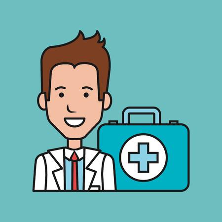 cartoon doctor man with kit first aid medical vector illustration Ilustracja