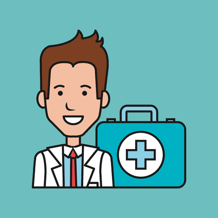 cartoon doctor man with kit first aid medical vector illustration Illustration