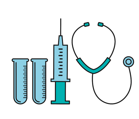 stetoscope syringe and test tube medical equipment vector illustration Ilustracja