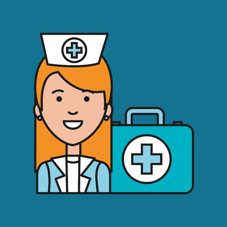 case: nurse medical professional with case first aid care vector illustration