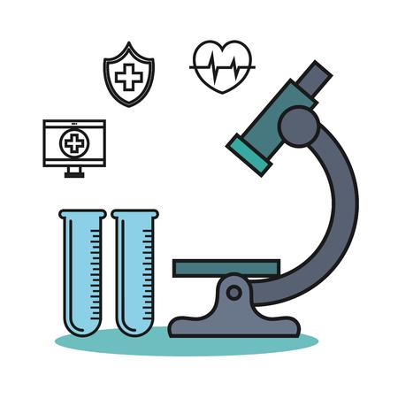 microscoop en proefbuis fles medische technologie ontwerp vector illustratie Stock Illustratie