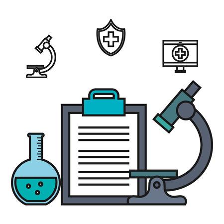 顕微鏡クリップボード試験管医療要素ベクトル図  イラスト・ベクター素材