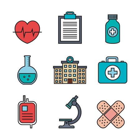 medical equipment supplies healthcare icons set vector illustration Stock fotó - 83853606