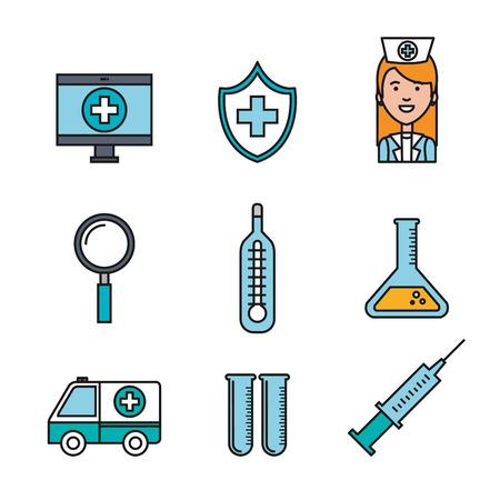 medische apparatuur levert gezondheidszorg pictogrammen set vector illustratie