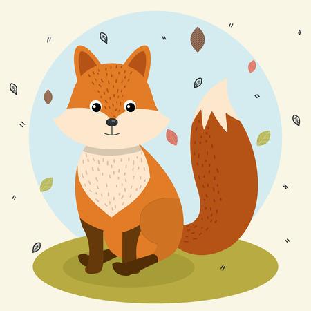 cartoon fox wild animal with falling leaves landscape nature vector illustration Illustration
