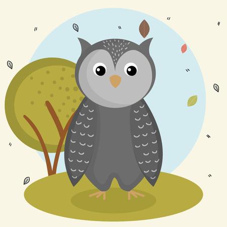 cartoon owl wild animal with falling leaves landscape nature vector illustration Zdjęcie Seryjne - 83853623