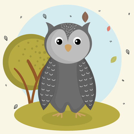 cartoon owl wild animal with falling leaves landscape nature vector illustration
