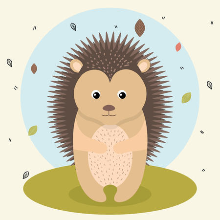 cartoon hedgehog wild animal with falling leaves landscape nature vector illustration
