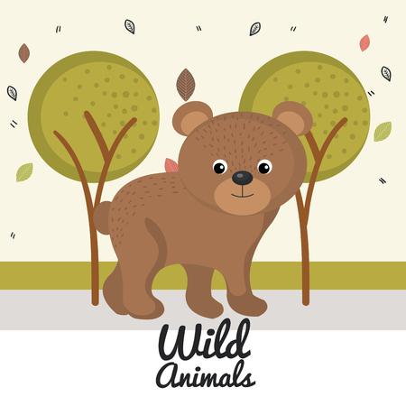 cartoon bear wild animal with falling leaves landscape nature vector illustration