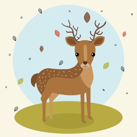 cartoon deer wild animal with falling leaves landscape nature vector illustration 向量圖像