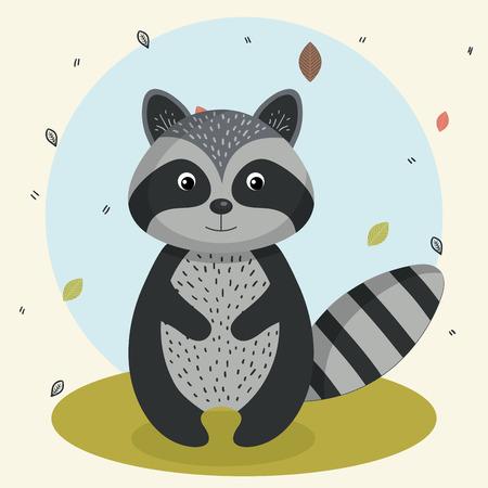 Cartoon raton laveur sauvage animal avec des feuilles de la forêt de la nature de la nature illustration vectorielle Banque d'images - 83853260