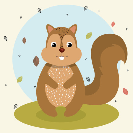 cartoon squirrel wild animal with falling leaves landscape nature vector illustration