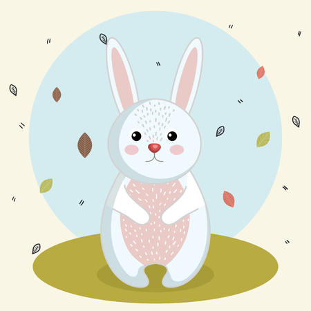 cartoon rabbit wild animal with falling leaves landscape nature vector illustration Illustration