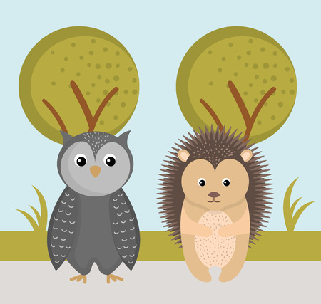 cute owl and hedgehog wild animals forest landscape tree vector illustration