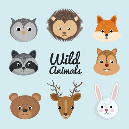 cute wild animal nature fauna set image vector illustration