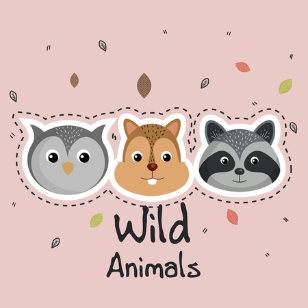 cute wild animals sticker leaves fall over pink background vector illustration Illustration