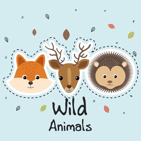 cute wild animals sticker leaves fall over blue background vector illustration Иллюстрация