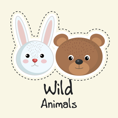 cute wild animals sticker leaves fall over light background vector illustration