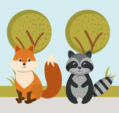 schattige vos en wasbeer wilde dieren bos landschap boom vector illustratie