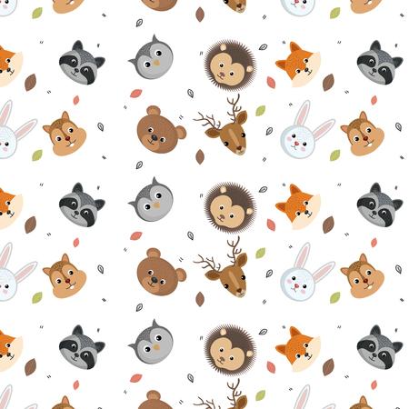 cute wild animals head pattern over white background vector illustration Illustration