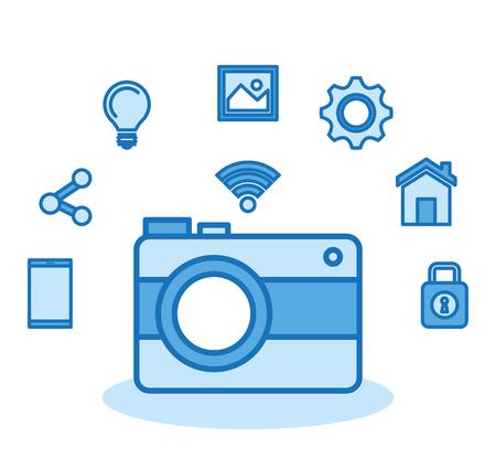 Fotocamera fotografica Internet digitale media tecnologia illustrazione vettoriale Archivio Fotografico - 83853943
