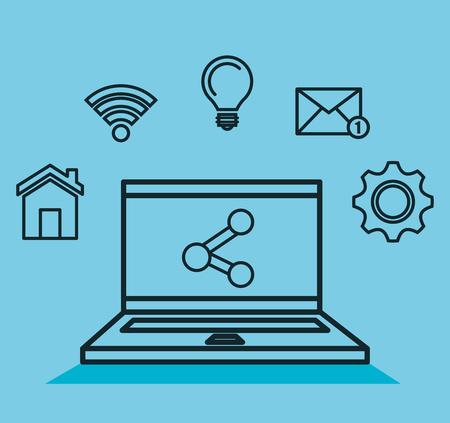 ノート パソコン共有通信オンライン wifi ベクトル図  イラスト・ベクター素材