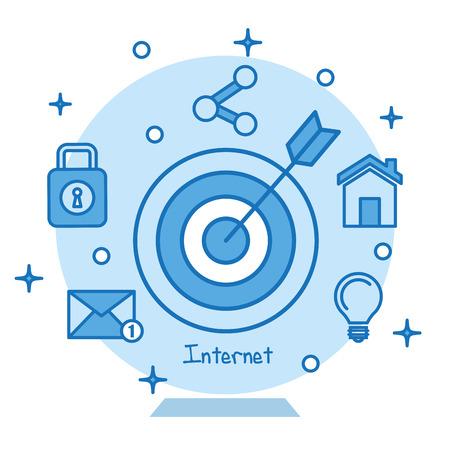 ターゲット アイコンの同心目指してマーケティング ビジネス インターネット概念ベクトル図