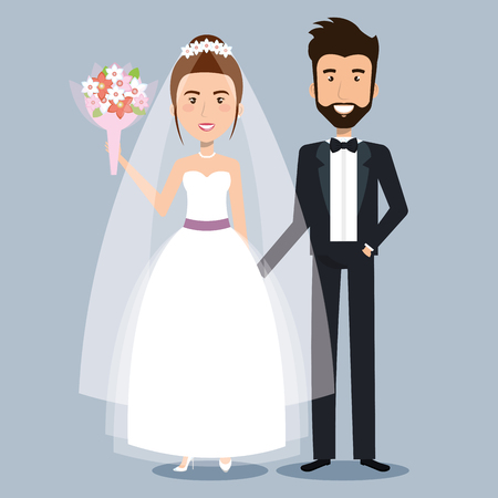 beautiful young bride and groom couple holding hands on wedding day vector illustration Фото со стока - 83864699