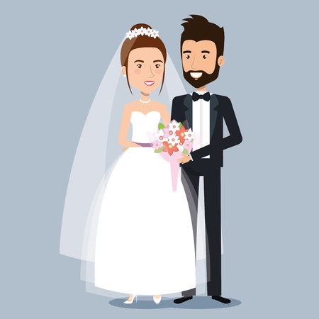Schönes junges Braut- und Bräutigampaarhändchenhalten auf Hochzeitstagvektorillustration Standard-Bild - 83854075