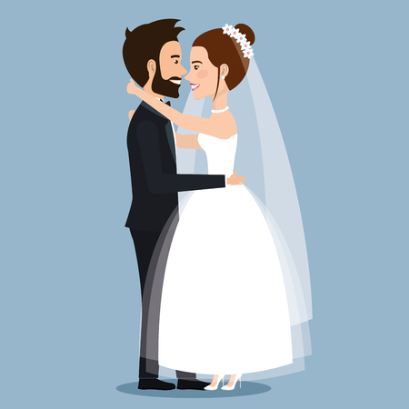 beautiful young bride and groom couple embracing on wedding day vector illustration Çizim
