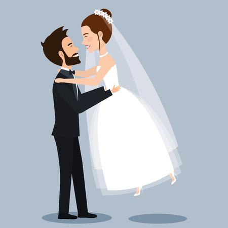 Schöne junge Braut und Bräutigam Paar Händchen haltend auf Hochzeitstag Vektor-Illustration Standard-Bild - 83854080