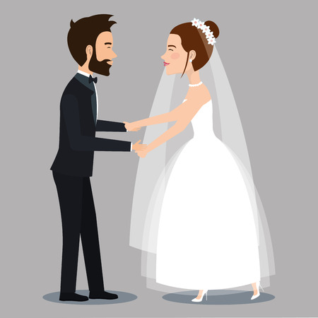character bride and groom newlyweds holding hands vector illustration Çizim