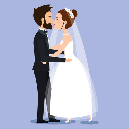beautiful young bride and groom couple holding hands on wedding day vector illustration Illusztráció
