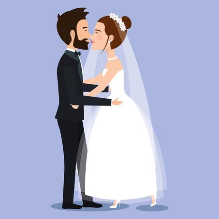 Bella giovane coppia e sposo coppia che tengono le mani sull & # 39 ; illustrazione di vettore del giorno di nozze Archivio Fotografico - 83854082