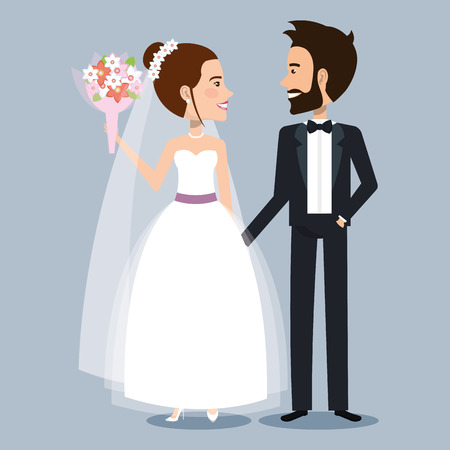 beautiful young bride and groom couple holding hands on wedding day vector illustration Illustration