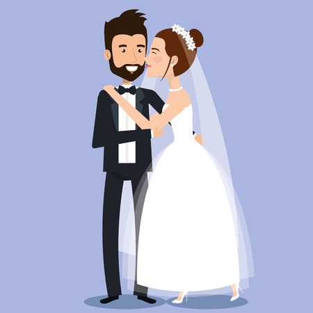 beautiful young bride and groom couple holding hands on wedding day vector illustration Çizim
