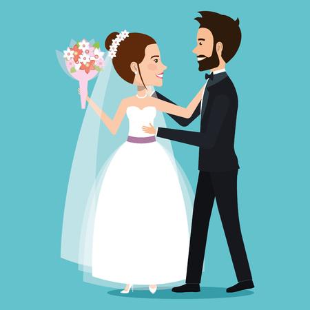 手をつないでする新郎新婦の新婚夫婦を文字ベクトル イラスト
