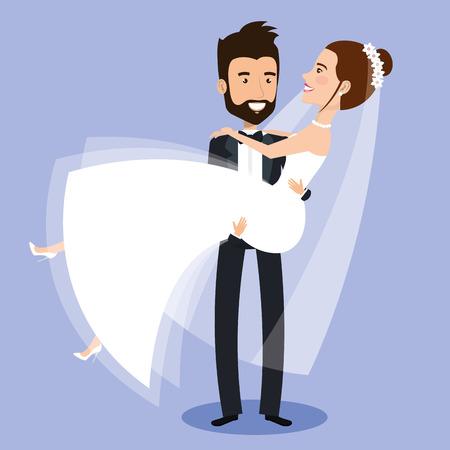 愛と結婚式の日ベクトル図の彼の腕の彼女を持って運ぶ花嫁を新郎します。